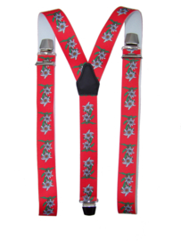 Rode Bretels met Edelweiss bloemen en extra sterke clips