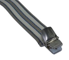 Crème blauw met brede streep Bretels met 4 extra sterke clips