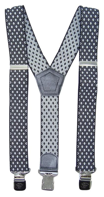 Zwart/Wit geruite Bretels met de sterkste stalen clips