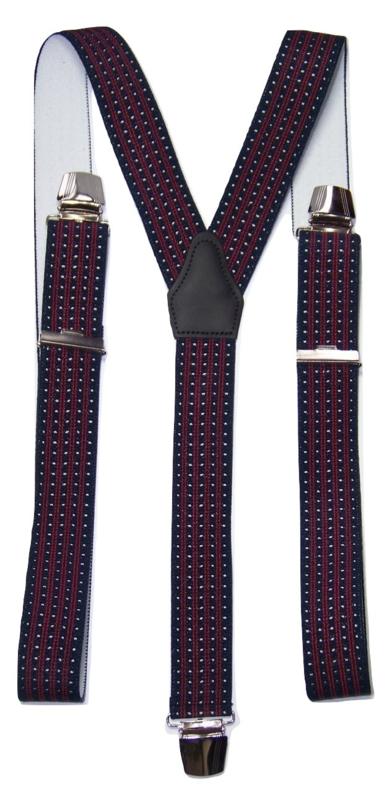 Donkerblauwe Bretels met witte stip en rode streep en extra sterke clips