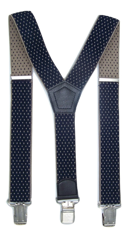 Donkerblauw/Beige Motief Bretels met de sterkste stalen clips
