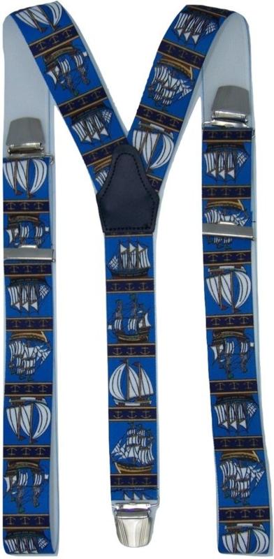 Bretels Zeilschip Blauw met extra sterke clips