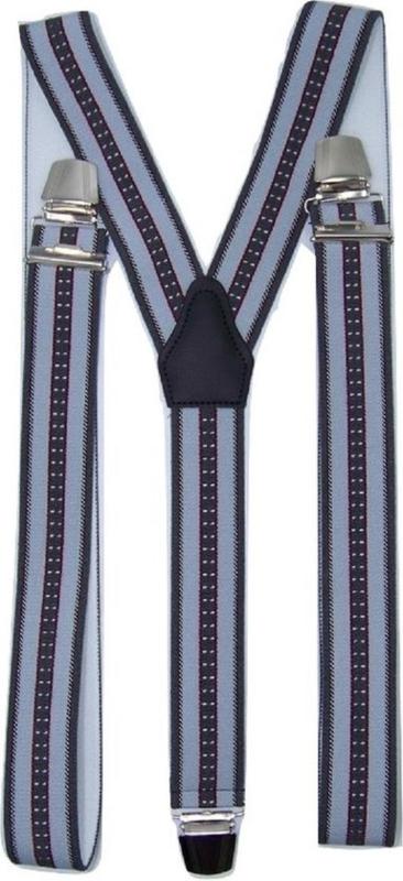 Bretels Antraciet/Rood/Wit gestreept met extra sterke clips