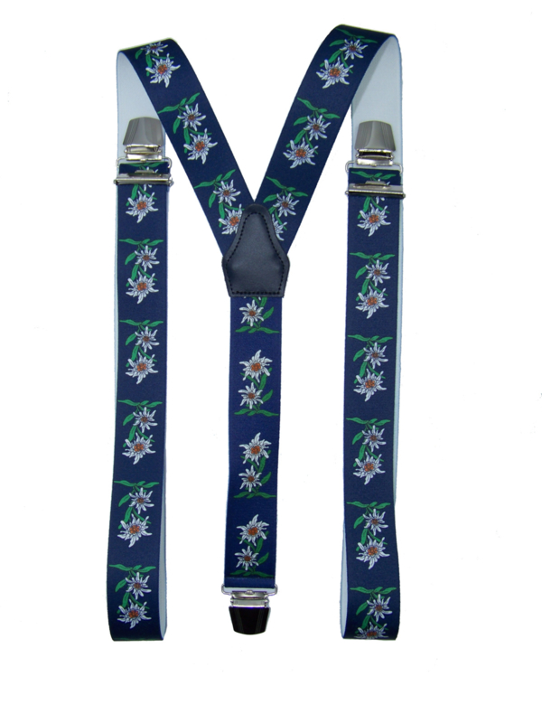 Donkerblauwe Bretels met Edelweiss bloemen en extra sterke clips