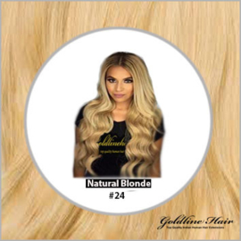 Hair weft krul/curly #24 Natural Blonde