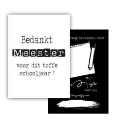 Mini kaartje ' Bedankt meester voor dit toffe schooljaar ! '