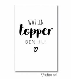 Mini kaartje  ' Wat een TOPPER ben jij ! '
