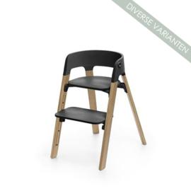 Stokke® Steps™ Seat zwart en Stoelpoten oak