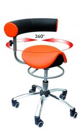 Sanus gezondheid stoel zadelzit, verstelbare draaibare rugleuning,  standaard kunstleer oranje zwart, advies hoogte