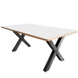 Hippe BSO tafel 200 met wit blad en stalen X poot