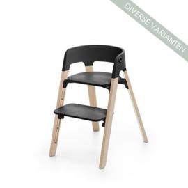 Stokke® Steps™ Seat zwart en Stoelpoten Beech Wood