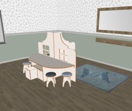Speelse huishoek T-vorm klokgevel  laag wit