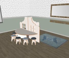 Speelse halfronde tafel laag wit