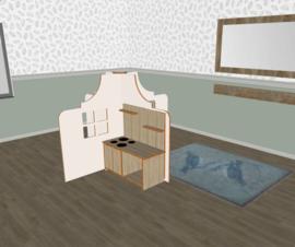 Speelse huishoek + vorm klokgevel laag wit