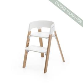 Stokke® Steps™ Seat wit en Stoelpoten Beech Wood