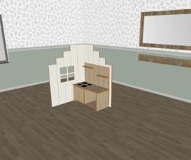 Speelse huishoek trapgevel L- vorm laag wit