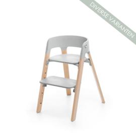 Stokke® Steps™ Seat grijs en Stoelpoten oak