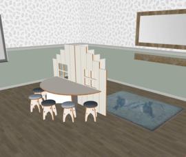 Speelse huishoek trapgevel T- vorm laag wit