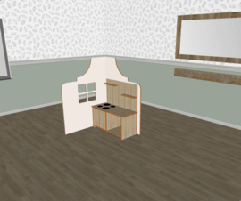 Speelse huishoek L- vorm klokgevel laag wit