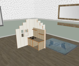 Speelse huishoek + vorm trapgevel laag wit
