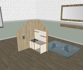 Speelse huishoek + vorm trapgevel laag decor