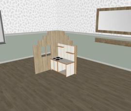 Speelse huishoek trapgevel L- vorm laag decor