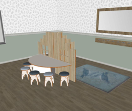 Speelse huishoek trapgevel T- vorm laag decor