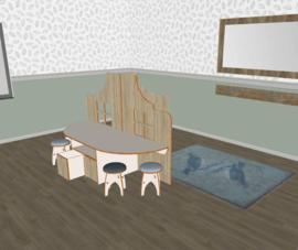 Speelse tafelbakken combi decor voor huishoek trapgevel laag decor