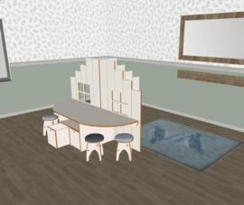 Speelse  tafelbakken combi wit voor huishoek trapgevel laag