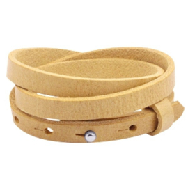Leren wikkelarmband, enkel/dubbel/driedubbel