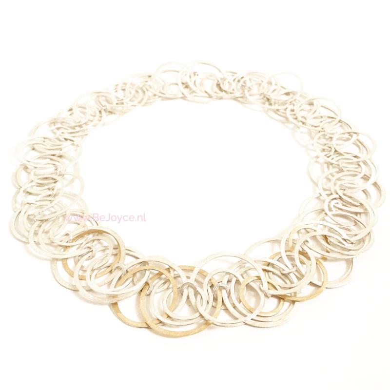 Cirkelcollier goud & zilver