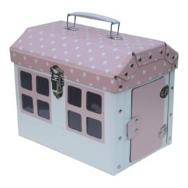 speelkoffertje huisje roze