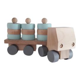 houten vrachtwagen met ronde blokjes - mint