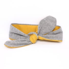 "Baby headband tie knot ""bi-colour"" mustard/light gray"