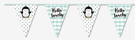 "Flagline ""Hello Lovely"" Penguin in black and mint"