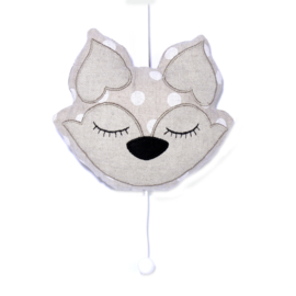 Musicbox Fox linnenlook/white dots