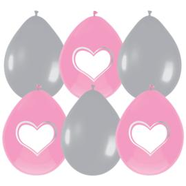 Ballonnen Star/Hart roze