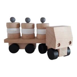 wooden truck with round blocks - monochrome
