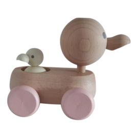 houten mama & baby eendje - pastel