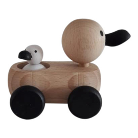 wooden mum and baby duck - monochrome