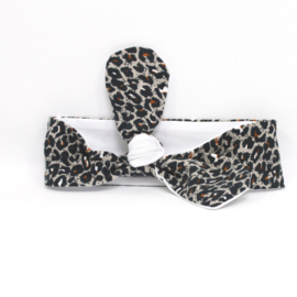 "Baby headband tie knot ""bi-colour"" white/animal"