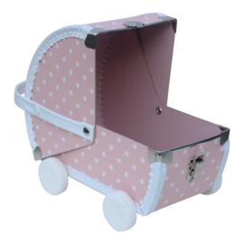 speelkoffertje roze poppenwagen
