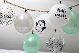 """Ballonnen """"Hello Lovely Pinguïn"""" zwart/mint"""