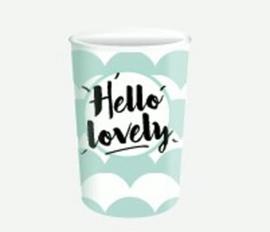 "Bekers ""Hello Lovely"" Pinguïn zwart/mint"