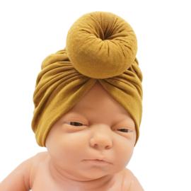 Babymutsje Donut Mosterd