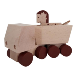 wooden truck with horse - brown