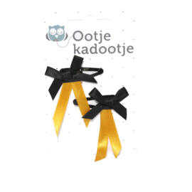 Babyhaarclipje bow tie black with a ocher ribbon
