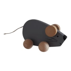 houten muis op wieltjes - grijs