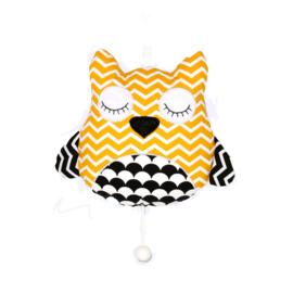 Musicbox Owl Black&White oker