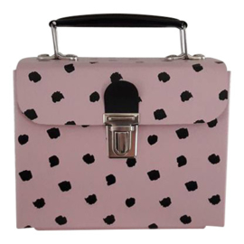 pink handbag with black dots